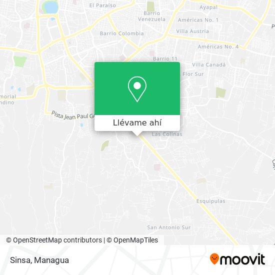 Mapa de Sinsa Carretera Masaya