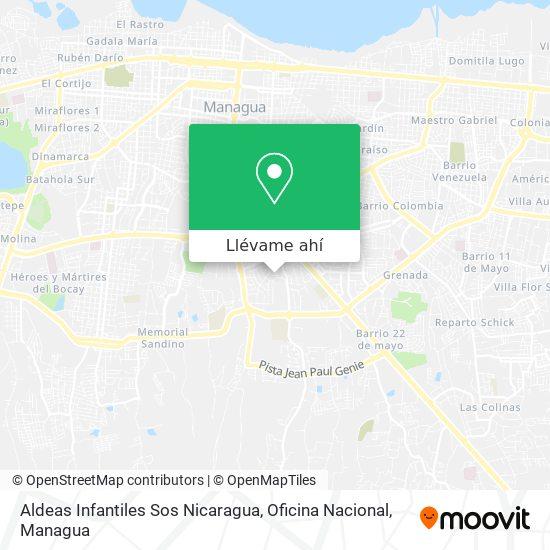 Mapa de Aldeas Infantiles Sos Nicaragua, Oficina Nacional