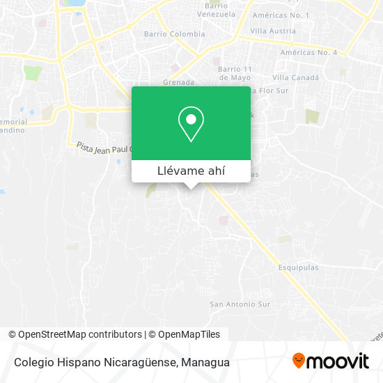 Mapa de Colegio Hispano Nicaraguense