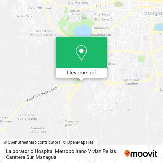 Mapa de La boratorio Hospital Metropolitano Vivian Pellas Caretera Sur