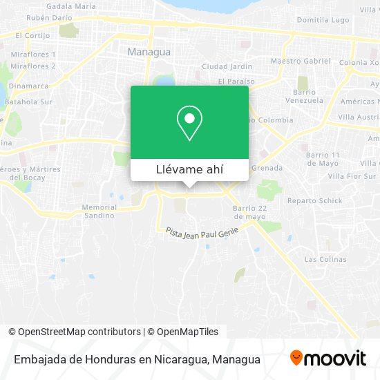 Mapa de Embajada de Honduras en Nicaragua