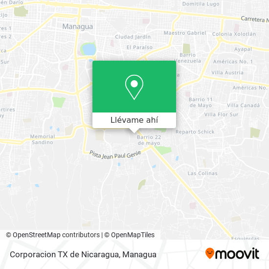 Mapa de Corporacion TX de Nicaragua