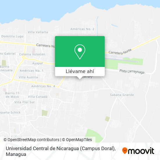 Mapa de Universidad Central de Nicaragua (Campus Doral)