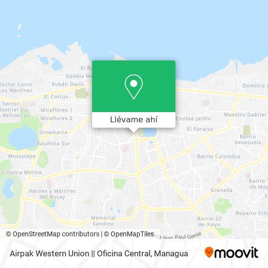 Mapa de Airpak Western Union    Oficina Central