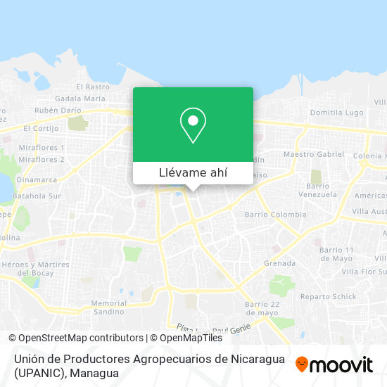 Mapa de Unión de Productores Agropecuarios de Nicaragua (UPANIC)