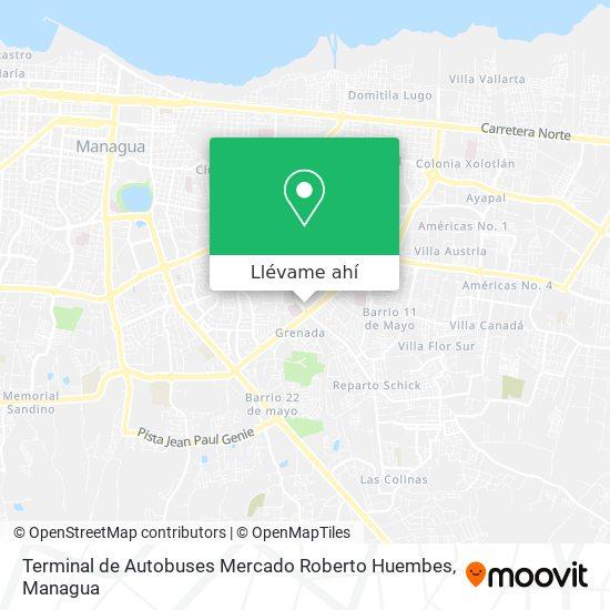 Mapa de Terminal de Autobuses Mercado Roberto Huembes