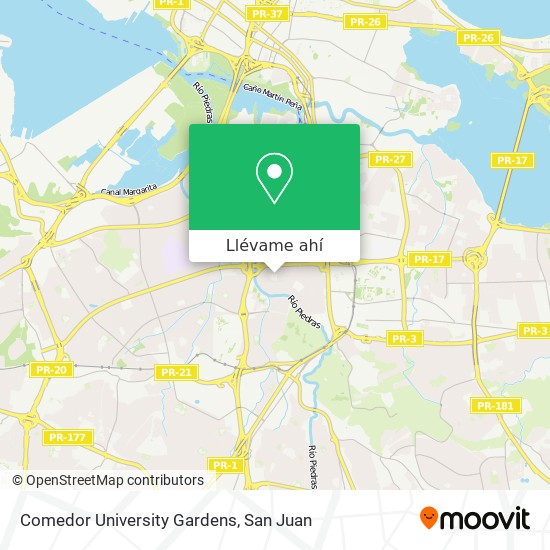 Mapa de Comedor University Gardens