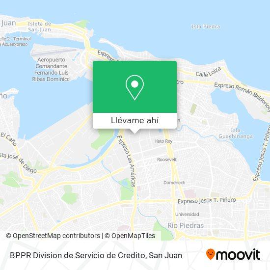 Mapa de BPPR Division de Servicio de Credito