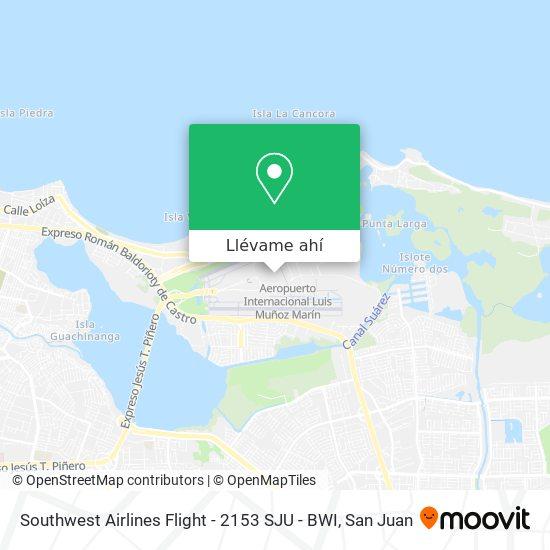 Mapa de Southwest Airlines Flight - 2153 SJU - BWI