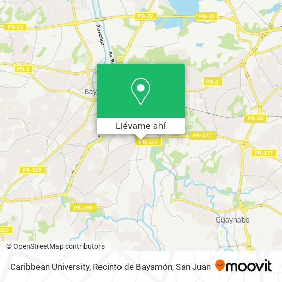 Mapa de Caribbean University, Recinto de Bayamón