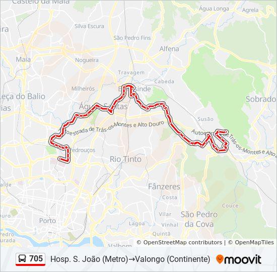 Rota 705 Horarios Paragens E Mapas Hosp S Joao Metro