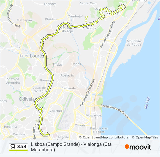 Rota 353 Horarios Paragens E Mapas Lisboa Campo Grande Qta