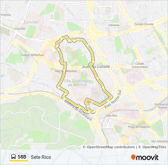 Rota 58b Horarios Paragens E Mapas Sete Rios Sete Rios