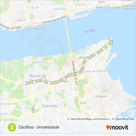 Subway Map Lisbon Pdf.Linha 3 Route Time Schedules Stops Maps Cacilhas