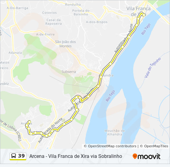 Rota 39 Horarios Paragens E Mapas Arcena