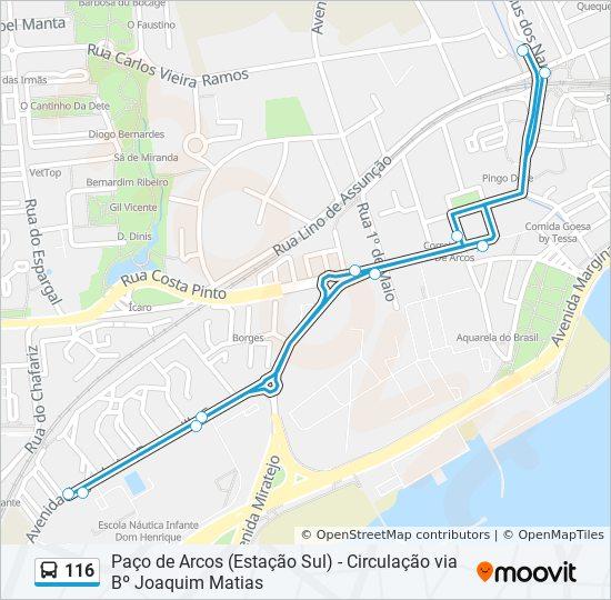 Rota 116 Horarios Paragens E Mapas Paco D Arcos Estacao Sul