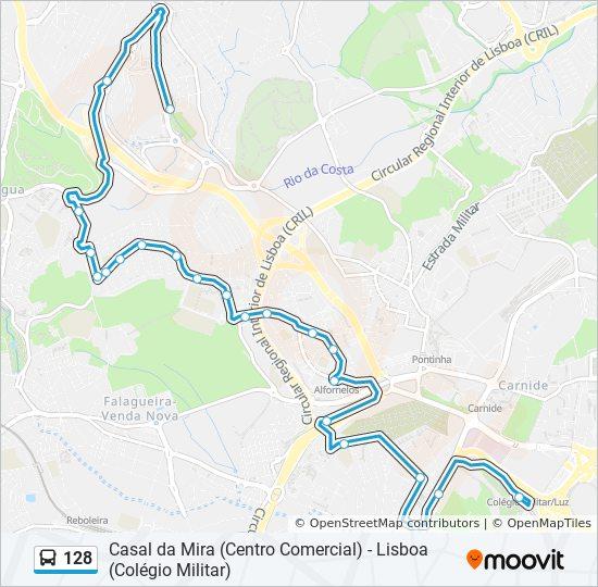 Rota 128 Horarios Paragens E Mapas Lisboa Colegio Militar