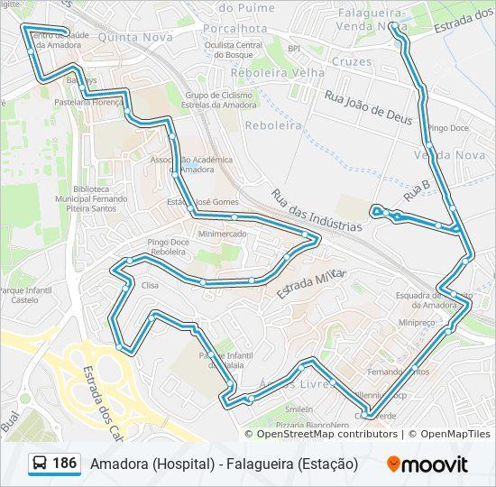 falagueira mapa Línea 186: horarios, mapas y paradas falagueira mapa