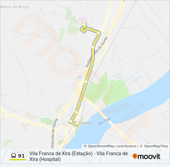 Rota 91 Horarios Paragens E Mapas Vila Franca De Xira Estacao