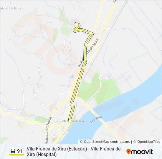 Rota 91 Horarios Paragens E Mapas Vila Franca De Xira Hospital