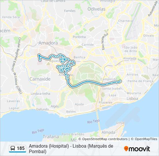 Rota 185 Horarios Paragens E Mapas Amadora Hospital