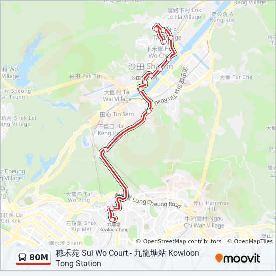 80m route time schedules stops maps
