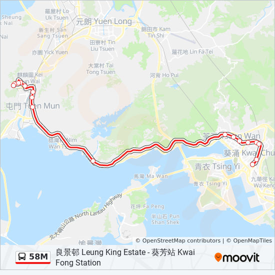 58m Route Time Schedules Stops Amp Maps 良景邨 Leung King