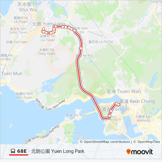 68e Route Time Schedules Stops Amp Maps 元朗公園 Yuen Long Park