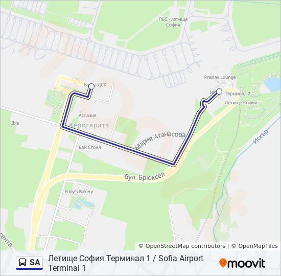Marshrut Sa Raspisanie Shema I Ostanovki Letishe Sofiya Terminal