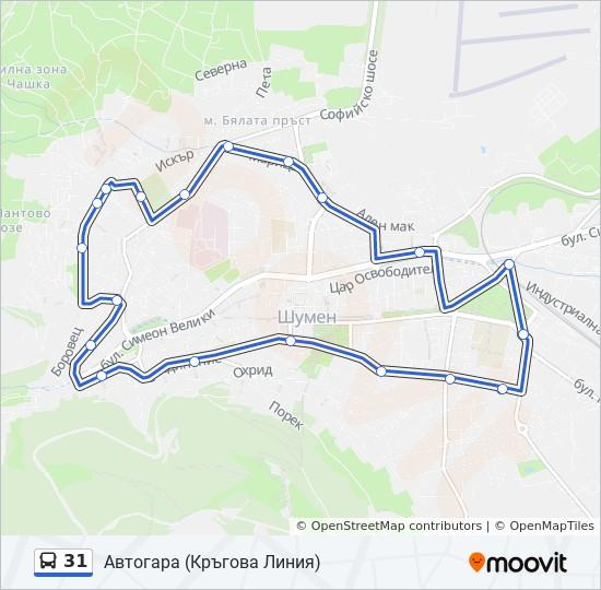 31 Marshrut Vremevi Grafici Spirki I Karti Avtogara Krgova Liniya