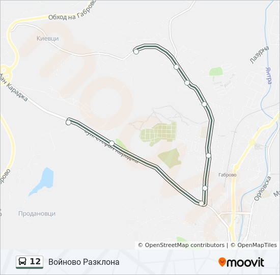 12 Route Time Schedules Stops Maps Razklona Vojnovo