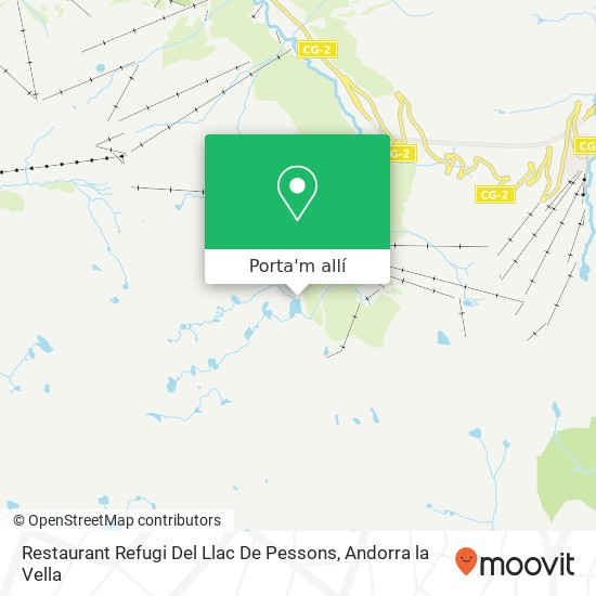 mapa Restaurant Refugi Del Llac De Pessons