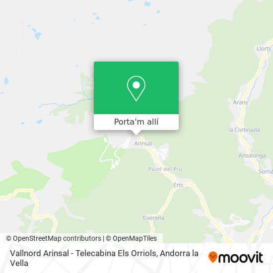 mapa Vallnord Arinsal - Telecabina Els Orriols