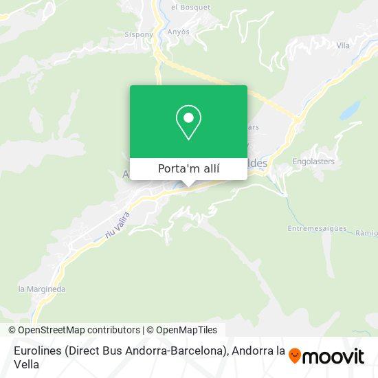 mapa Eurolines (Direct Bus Andorra-Barcelona)