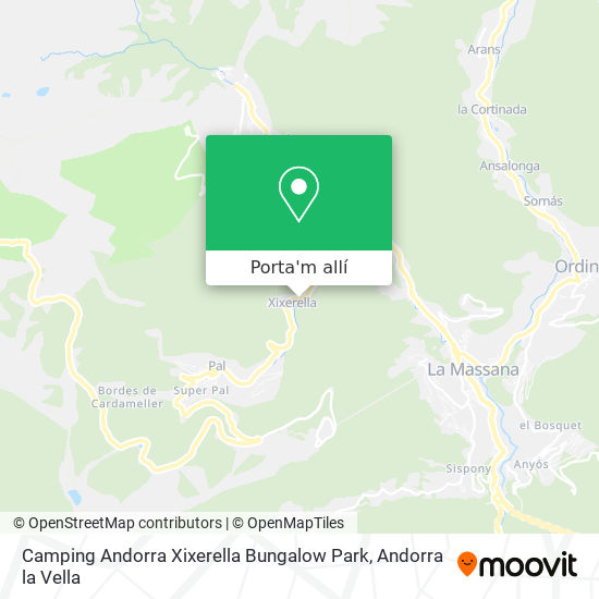 mapa Camping Andorra Xixerella Bungalow Park