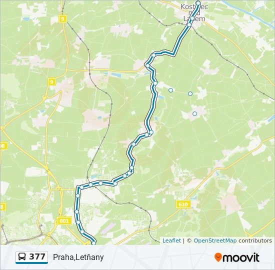 377 Trasa Harmonogram Zastavky Mapy Praha Letnany