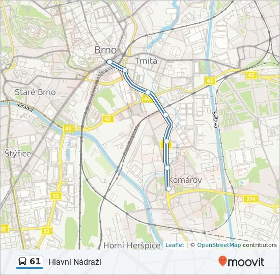61 Route Time Schedules Stops Maps Hlavni Nadrazi