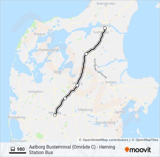 980 bus Linjekort