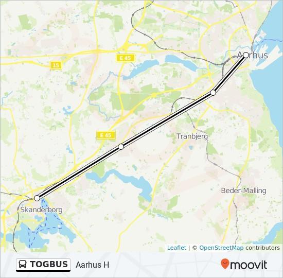 TOGBUS bus Linjekort