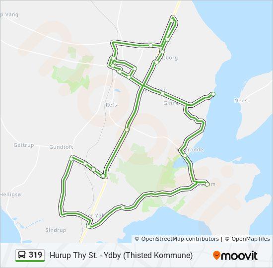 319 Rute Koreplaner Stoppesteder Kort Ydby Thisted Kommune