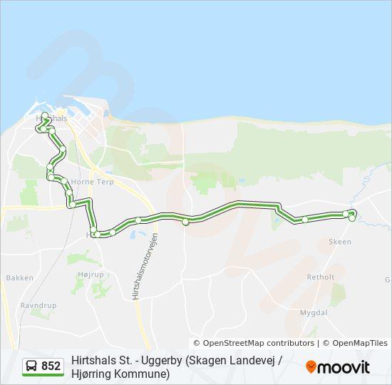 Karta Danmark Hirtshals.852 Rutt Tidsschema Stopp Kartor Tversted
