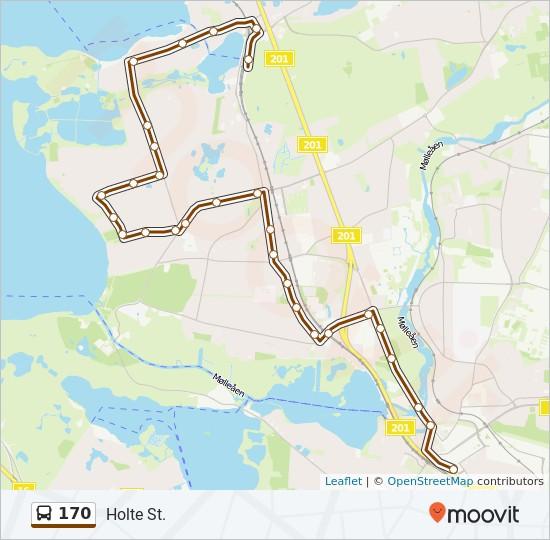 170 bus Linjekort