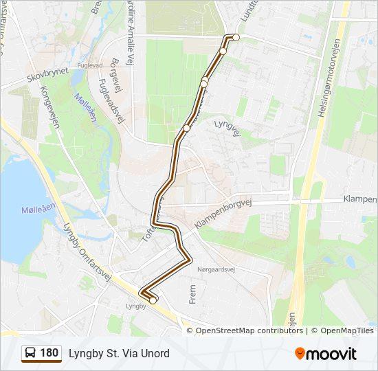 180 bus Linjekort