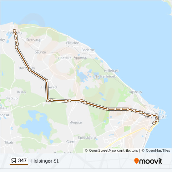 Map 347.347 Route Time Schedules Stops Maps Hornbaek St