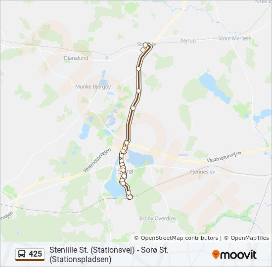 425 Rute Koreplaner Stoppesteder Kort Stenlille St