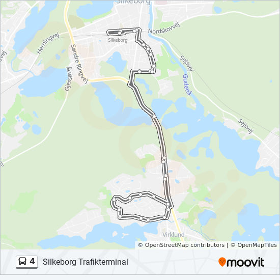 4 Route: Time Schedules, Stops & Maps - Silkeborg Trafikterminal