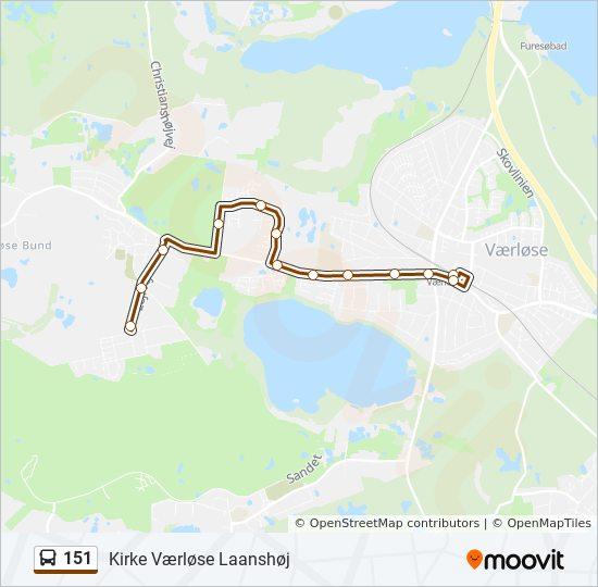 151 bus Linjekort