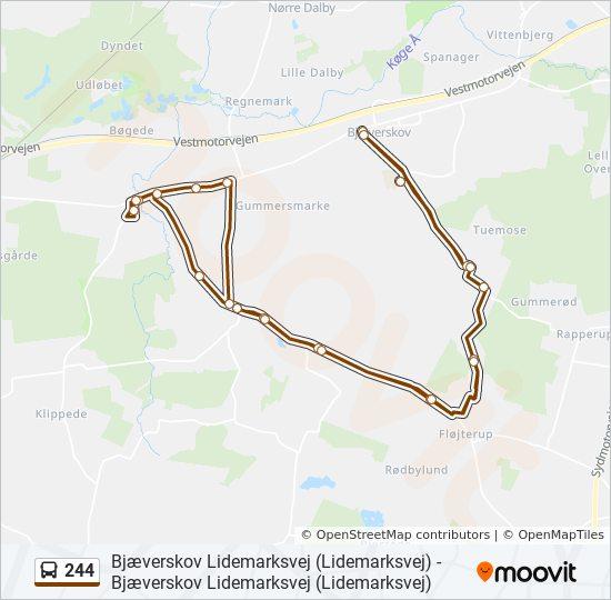 244 bus Linjekort