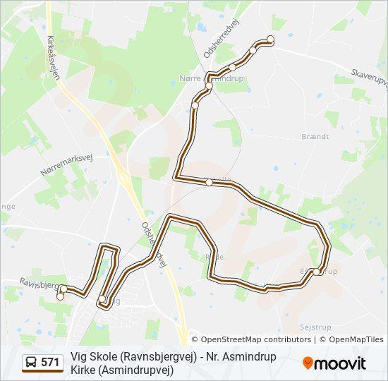 571 bus Linjekort