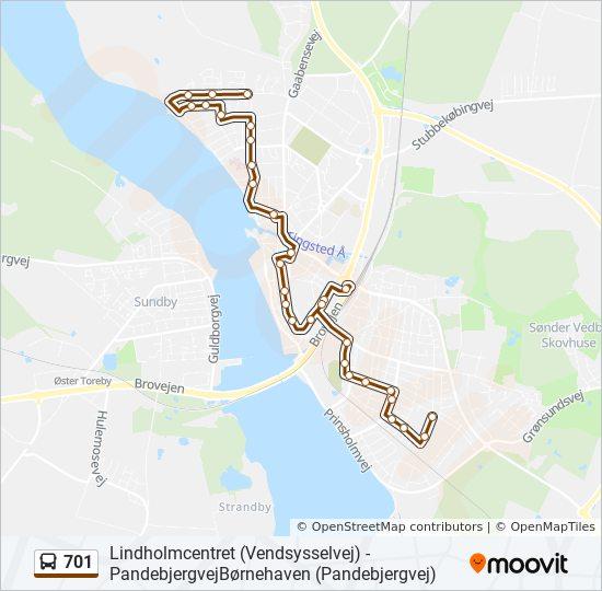701 bus Linjekort